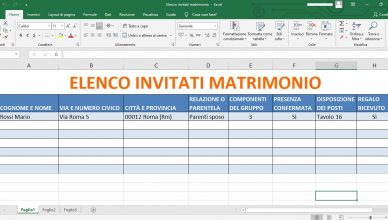 elenco invitati matrimonio